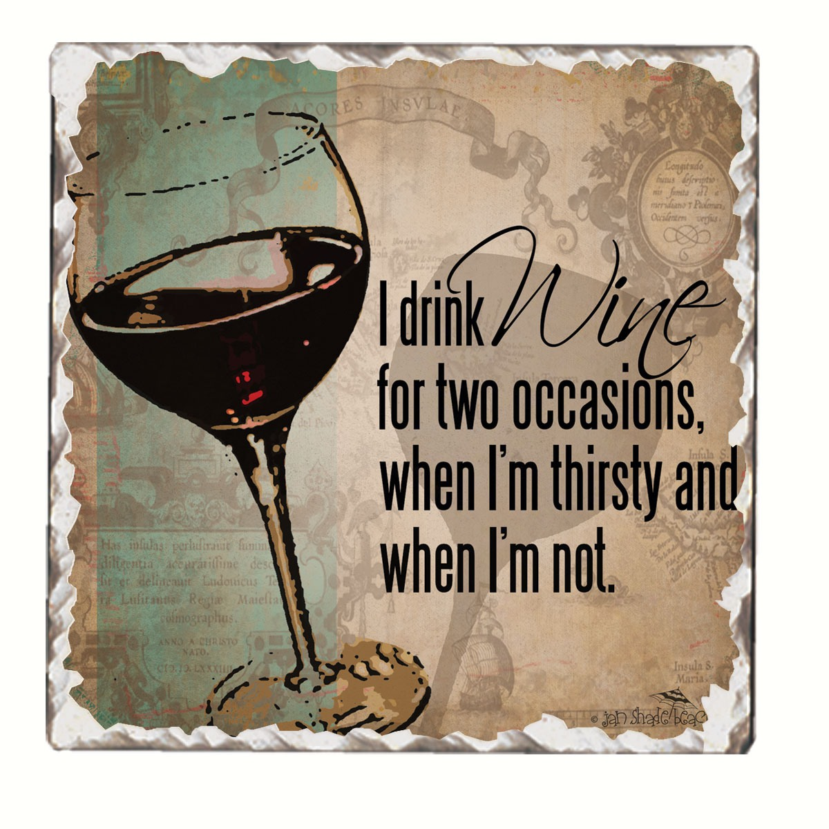 I Drink Wine Single Tumbled Tile Coaster