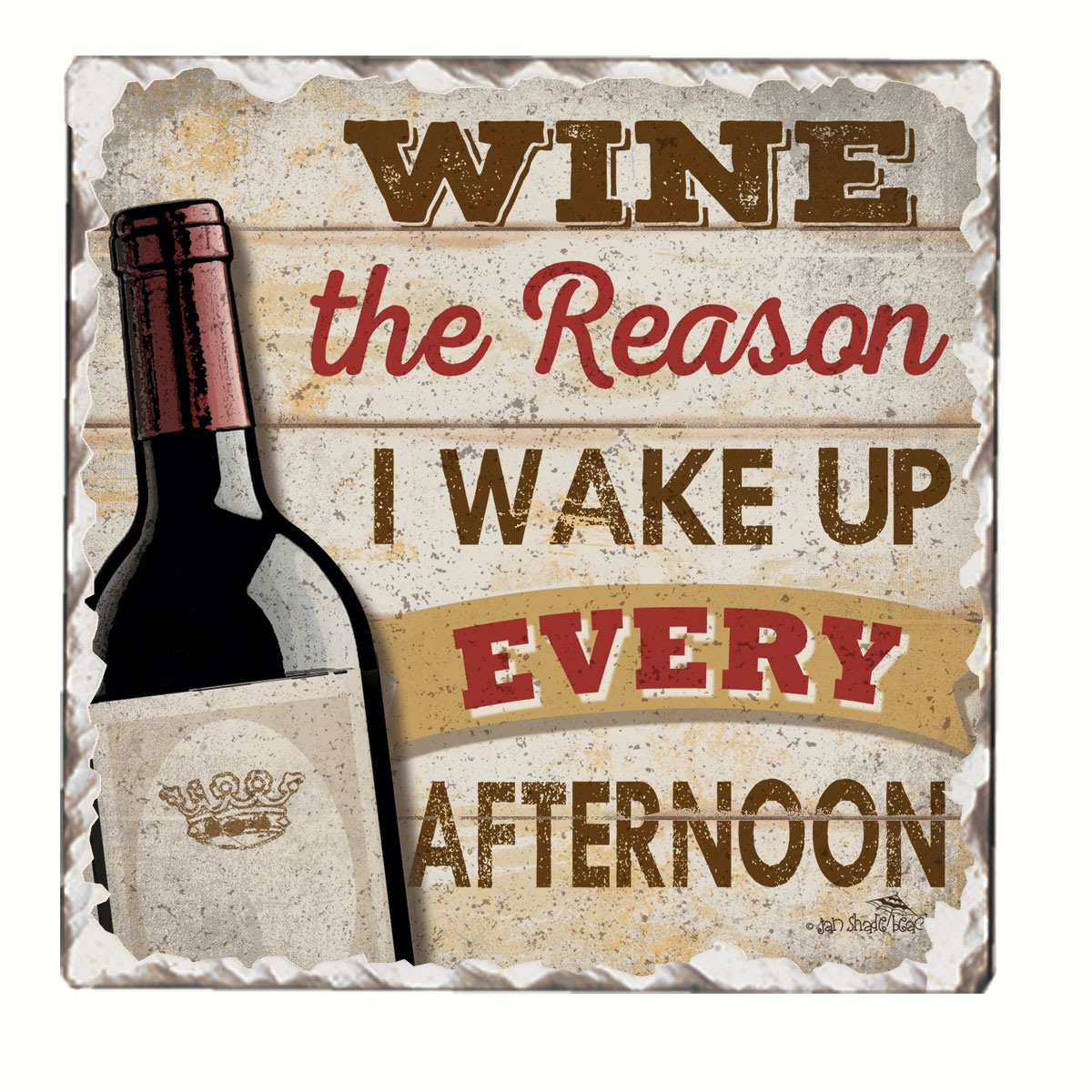 Wine Wake Up Single Tumbled Tile Coaster