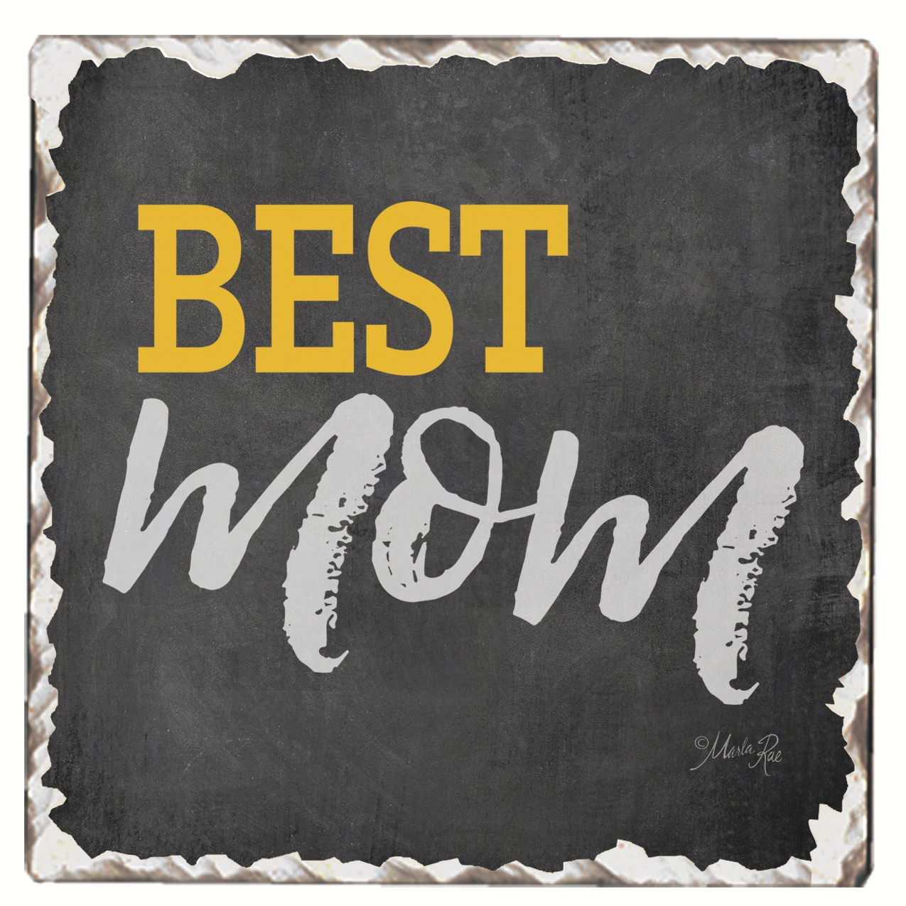Best Mom Single Tumbled Tile Coaster