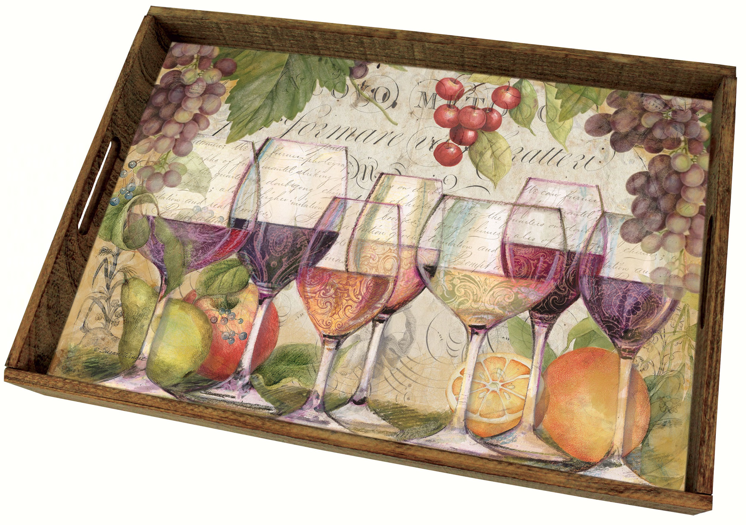 Wine Country Wooden Tray