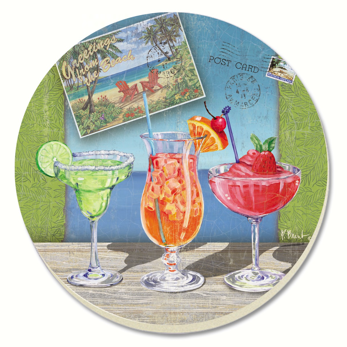 Caribbean Drinks Coasters Set of 4