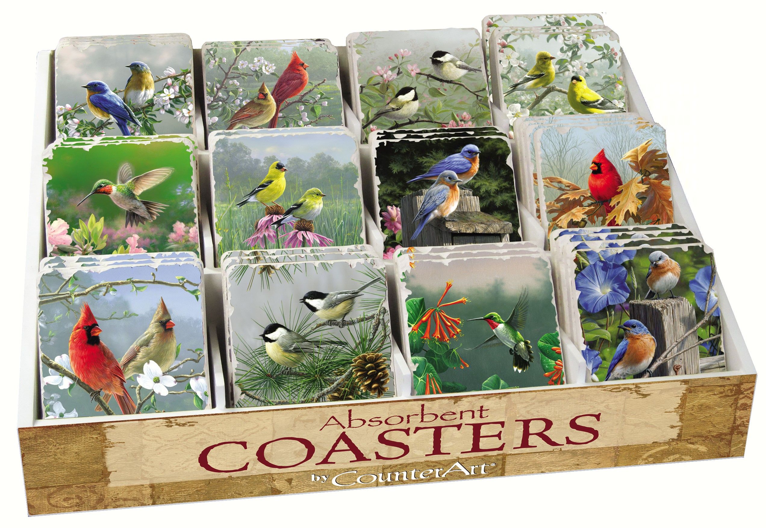 Bird Assortment with Counter Display 72 Coasters