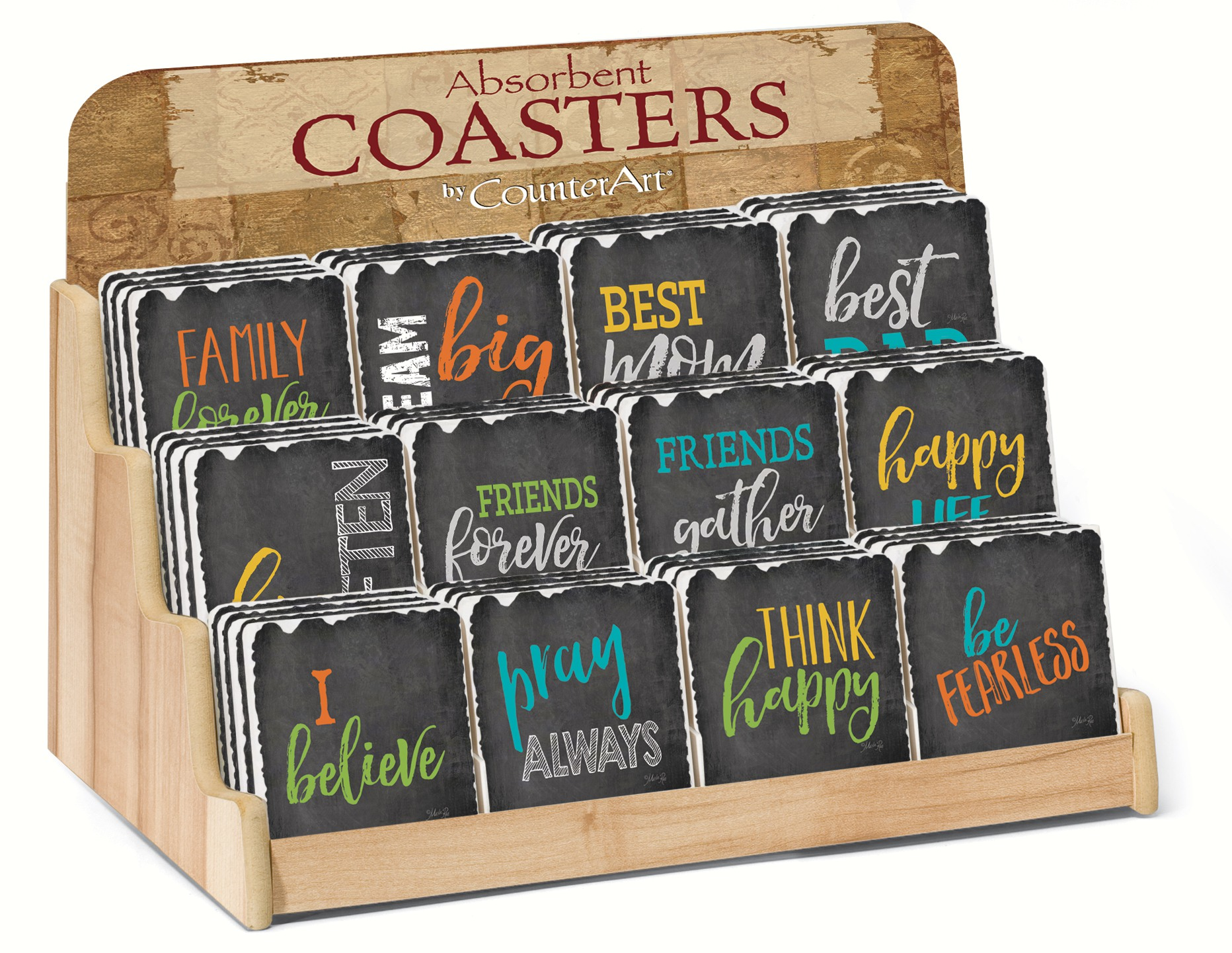 Chalkboard Sentiments Assorment w/ Counter Display (72 Coasters)