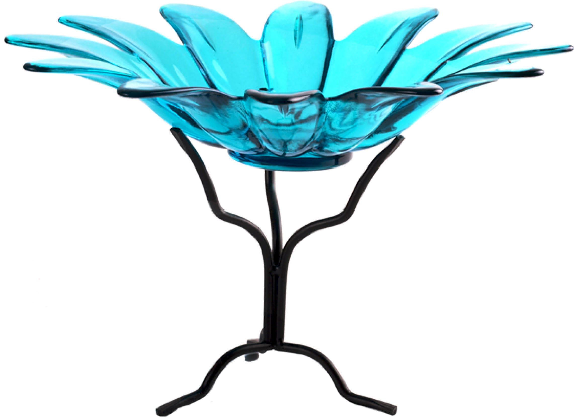 6 inch Daisy Bowl with Branch Stand Aqua