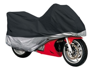 Special Two-Tone™ Motorcycle Cover - Size Large - Black & Silver
