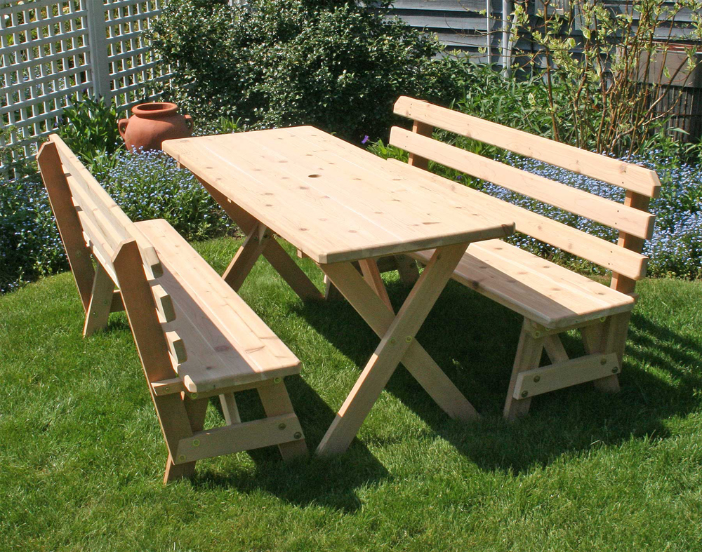 "Cedar 27"" Wide 8' Cross Legged Picnic Table with (4) 4' Backed Benches"