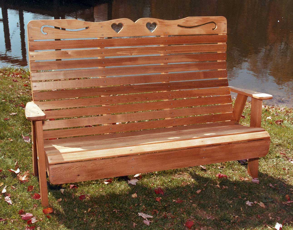5' Cedar Royal Country Hearts Garden Bench