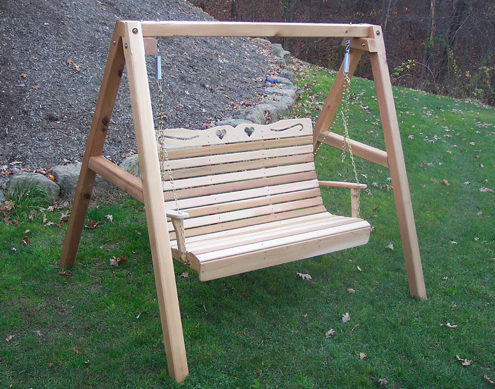 5' Cedar Royal Country Hearts Porch Swing w/Stand