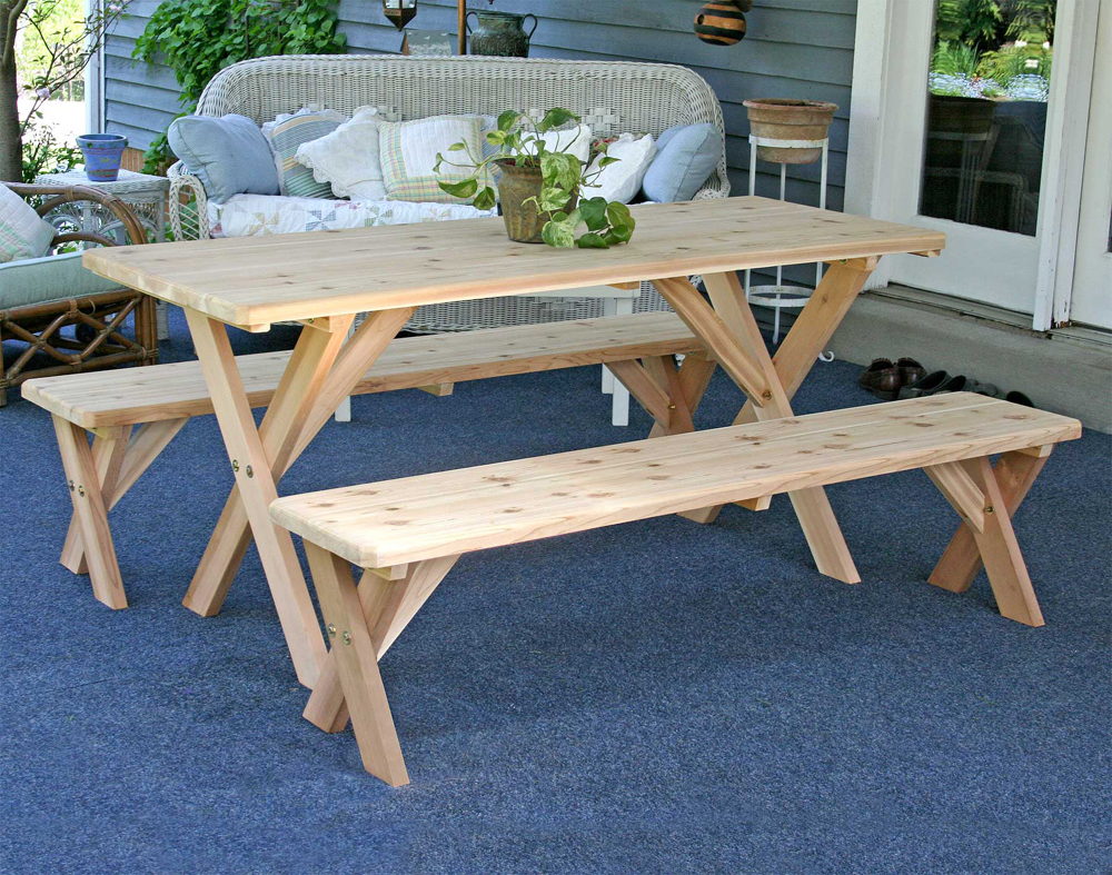"Red Cedar 27"" Wide 5' Backyard Bash Cross Legged Picnic Table w/ Detached Benches"