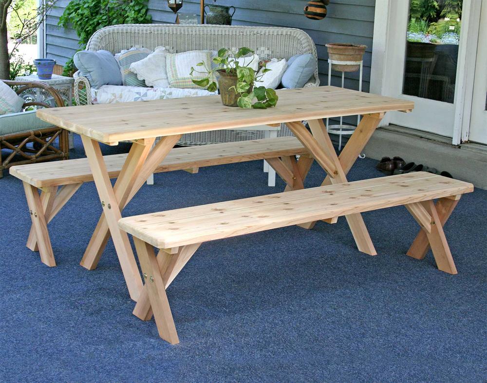 "Red Cedar 27"" Wide 8' Backyard Bash Cross Legged Picnic Table w/ Detached Benches"