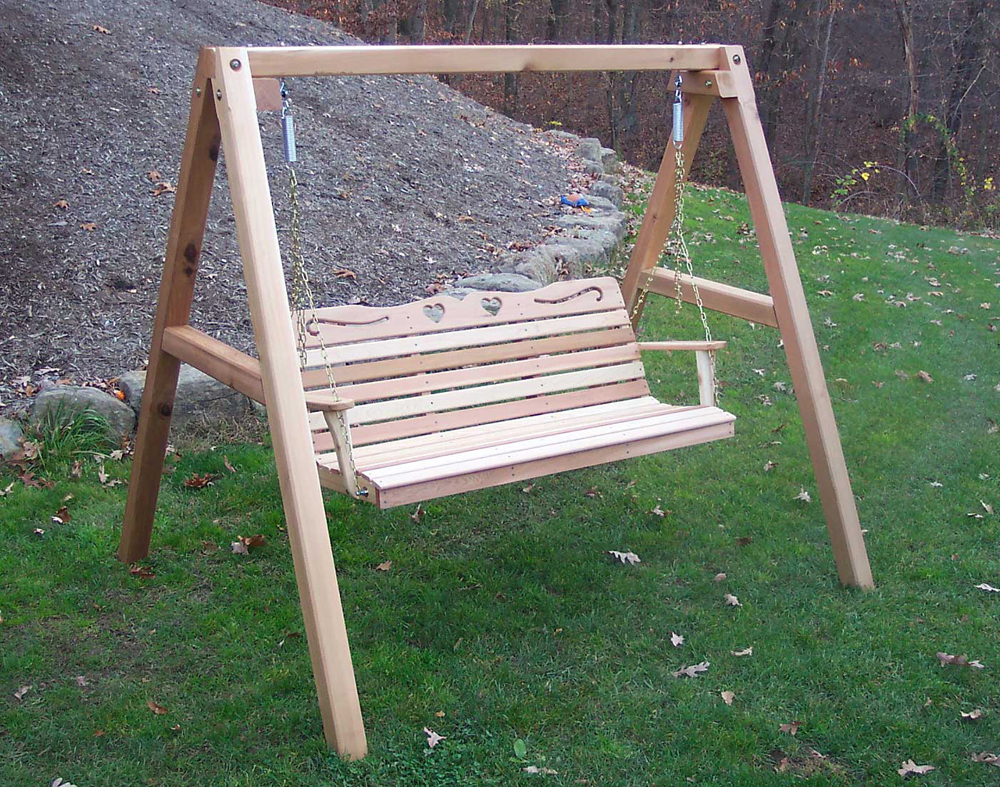 5' Cedar Country Hearts Porch Swing w/Stand