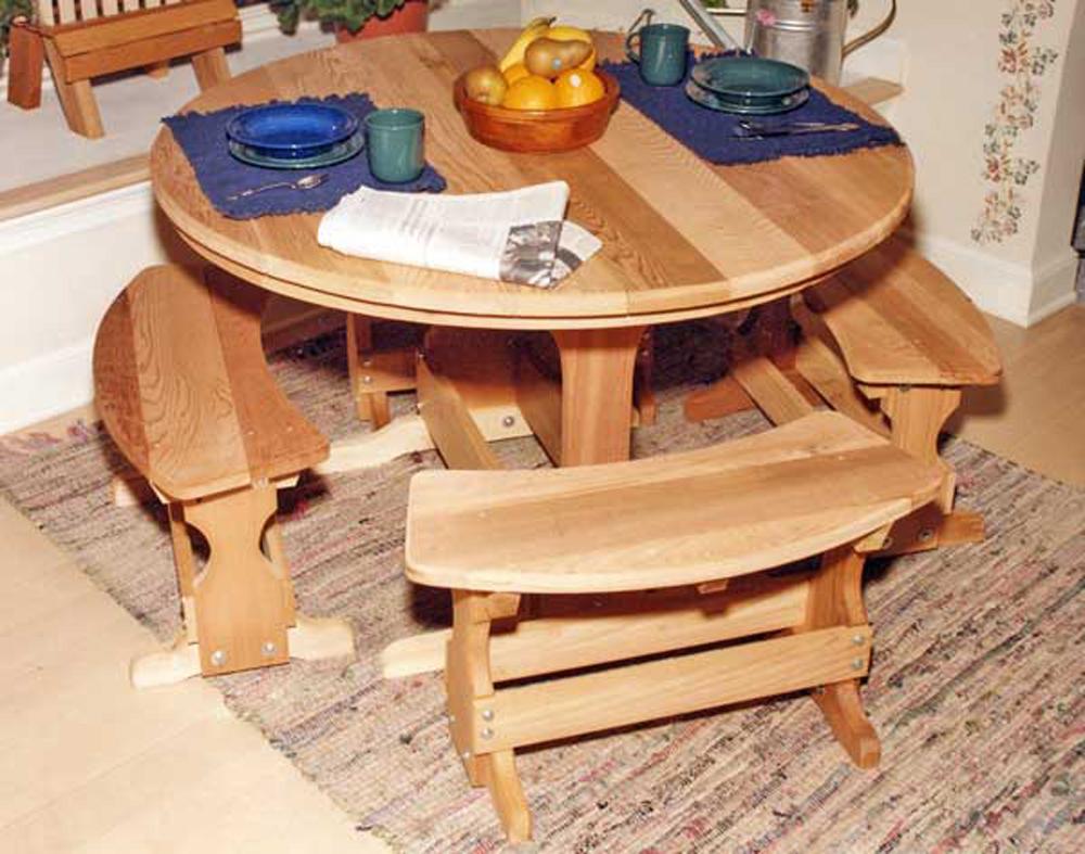 "35"" Cedar Round Trestle Dining Set"