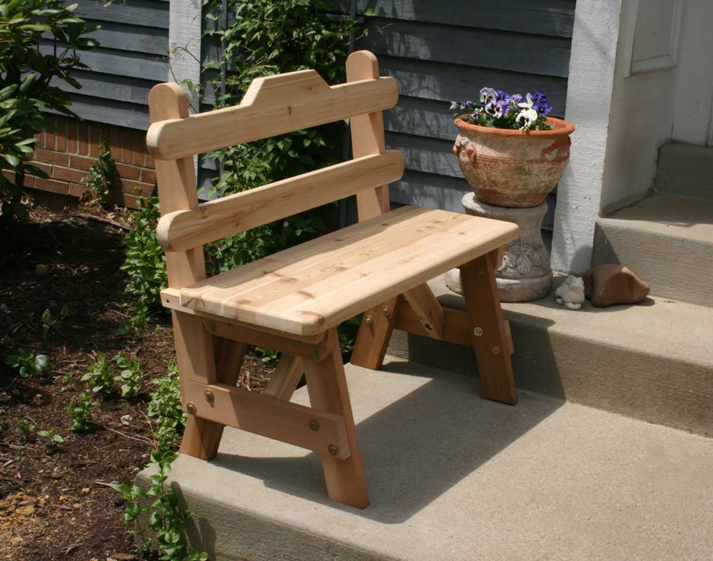 5' Cedar Tab Back Bench