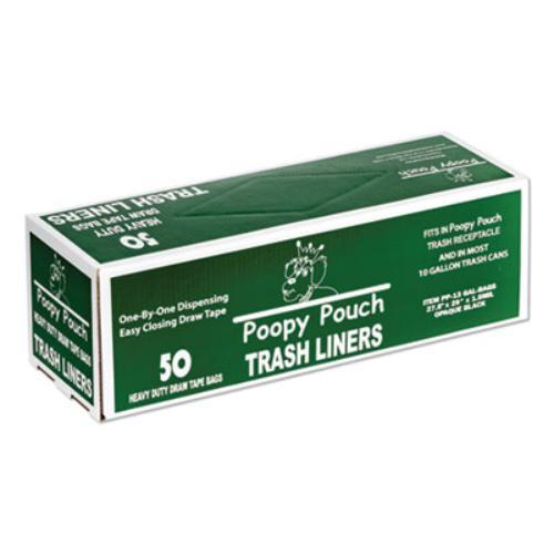 "Heavy Duty Trash Liners, 13 gal, 1.5 mil, 27.5"" x 29"", Black, 50/Box"