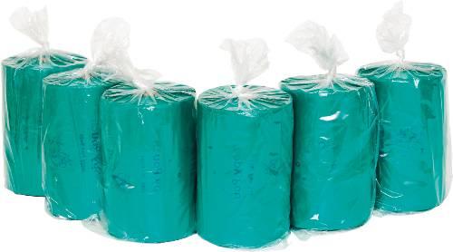 "Tie Handle Pet Waste Bags, 14 microns, 7"" x 15"", Green, 2,400/Carton"