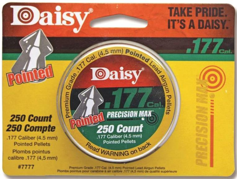 Daisy 7777 Pointed Field Pellet, 250 CT, 0.177 Caliber
