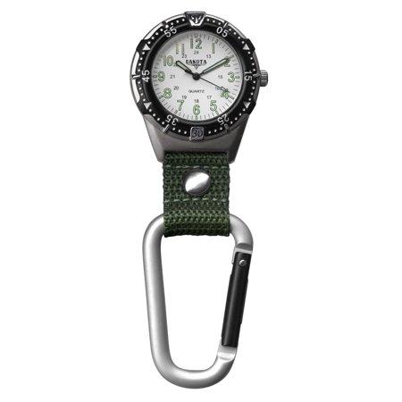 Dakota Aluminum Backpacker Clip Watch-White/Moss