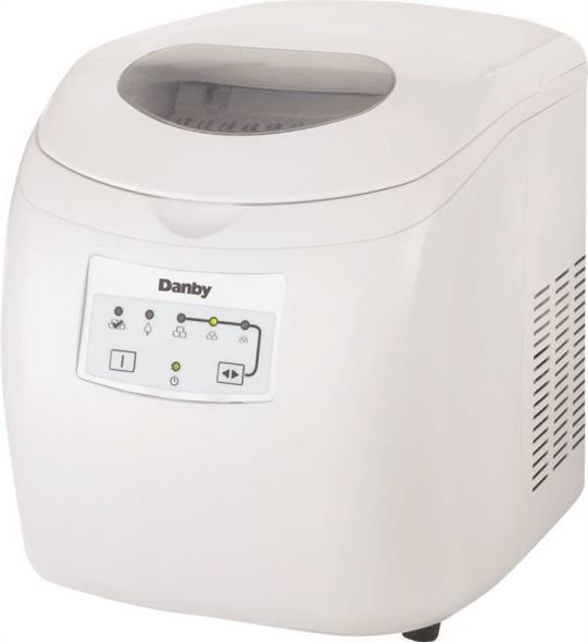 Danby DIM2500WDB Portable Ice Maker, 2 lb, 120 V, Steel, White