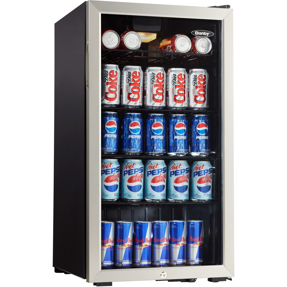 Danby DBC120BLS Beverage Can Center, 120 Can/3.3 cu-ft 19-3/4 in L x 17-14/16 in W x 33-11/16 in H Exterior, Black