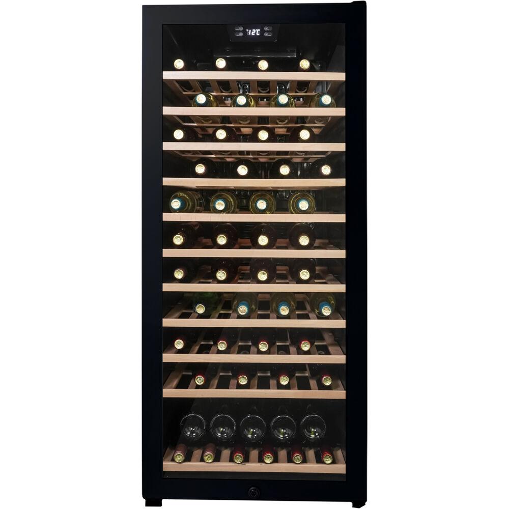 94 Bottle Wine Cooler,Side Mount Pocket Handle,Natural Beechwood Shelves