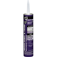 DAP Beats The Nail Construction Adhesive, 10.3 oz, Cartridge, White, Slight Sweet, Paste