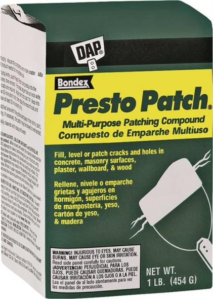 DAP Presto Patch Multi-Purpose Patching Compound, 4 lb, Bag, White, Powder