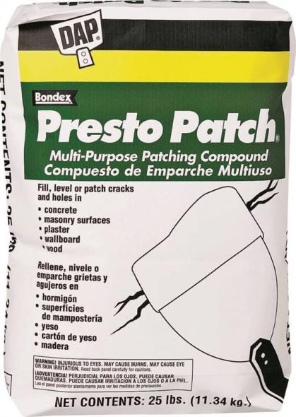 DAP Presto Patch Multi-Purpose Patching Compound, 25 lb, Bag, White, Powder