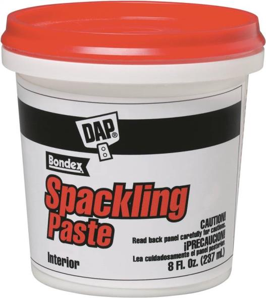 DAP Bondex Heavy Duty Ready-to-Use Spackling Compound, 1/2 pt, Tub, White, Slight Sweet, Paste