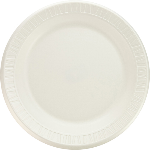 "Quiet Classic Laminated Foam Dinnerware, Plate, 9"" dia, WH, 125/PK, 4 Packs/CT"