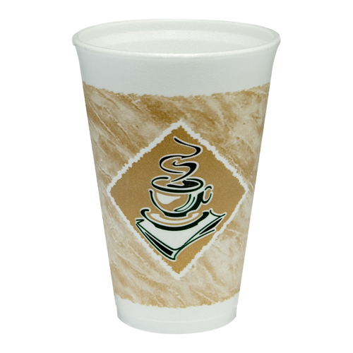 Caf� G Foam Hot/Cold Cups, 16oz, White w/Brown & Green, 1000/Carton