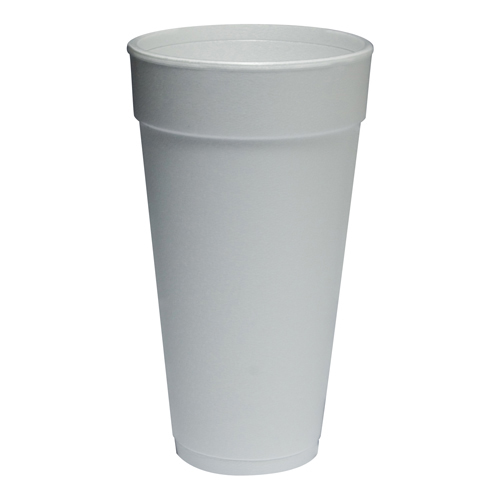 Drink Foam Cups, Hot/Cold, 24oz, White, 500/Carton