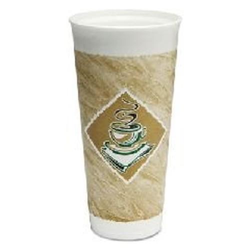 Caf� G Foam Hot/Cold Cups, 24 oz, Green/White, 20/Bag, 20 Bags/Carton