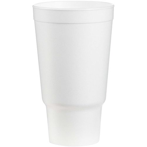 Foam Drink Cups, 32 oz, White, 16/Bag, 25 Bags/Carton