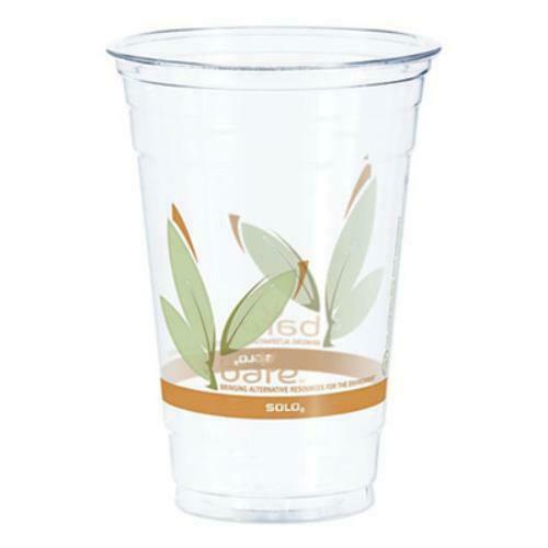 Bare RPET Cold Cups, Leaf Design, 20 oz, 50/Pack, 12 Packs/Carton