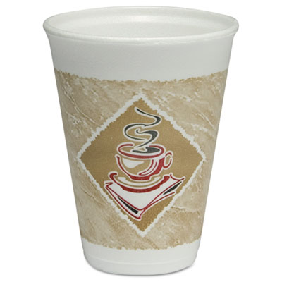 Caf� G Hot/Cold Cups, Foam, 12oz, White w/Brown & Red, 20/Bag, 50 Bags/Carton