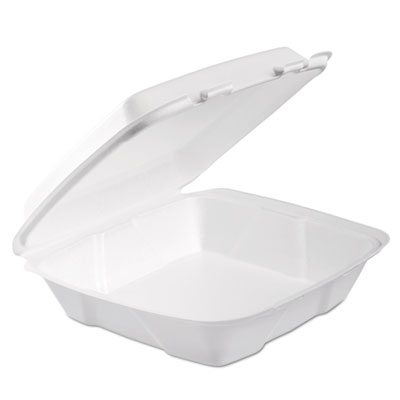 Foam Hinged Lid Container, 1-Comp, 9 x 9 2/5 x 3, White, 100/Bag, 2 Bag/Carton