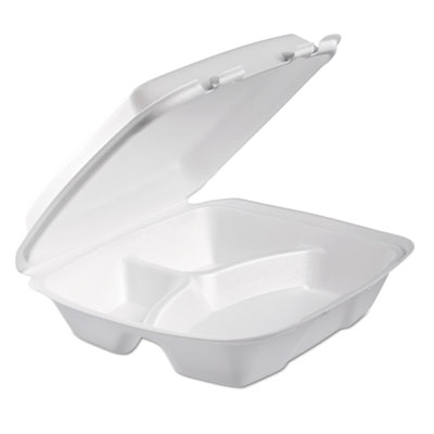 Foam Hinged Lid Container, 3-Comp, 9 x 9 2/5 x 3, White, 100/Bag, 2 Bag/Carton