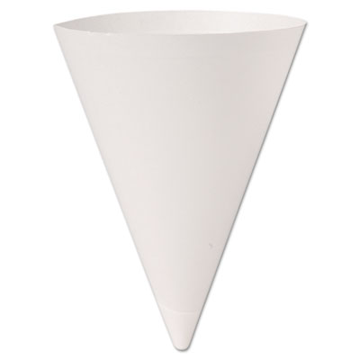 Bare Treated Paper Cone Water Cups, 7 oz., White, 250/Bag, 20 Bags/Carton