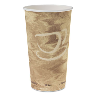 Single Sided Poly Paper Hot Cups, 20 OZ, Mistique design, 40/Bag, 15 Bags/Carton