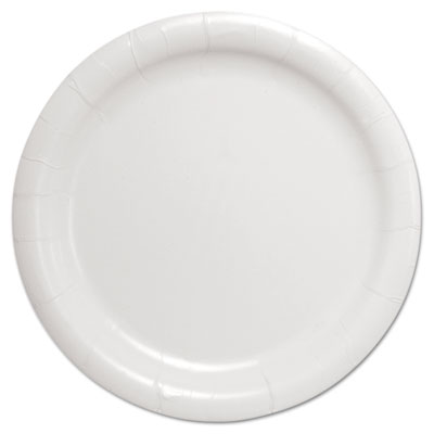 "Bare Eco-Forward Clay-Coated Paper Dinnerware, Plate, 9"" Diameter, White"