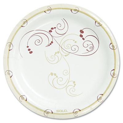 "Symphony Paper Dinnerware, Mediumweight Plate, 8 1/2"" Round, Tan, 125/Pack"