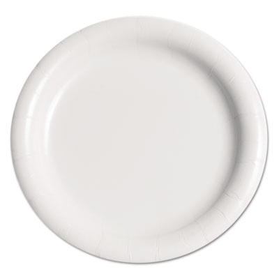 "Bare Eco-Forward Clay-Coated Paper Plate, 9"", WH, Rnd, Mdmwgt, 125/Pk, 4 PK/CT"