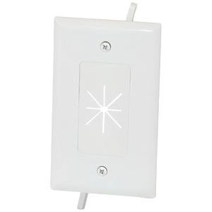 DATACOMM ELECTRONICS 45-0014-WH 1-GANG CABLE PLATE WITH FLEXIBLE OPENING (WHITE)