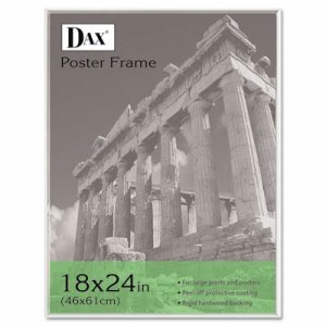 U-Channel Poster Frame, Contemporary Clear Plastic Window, 18 x 24, Clear Border