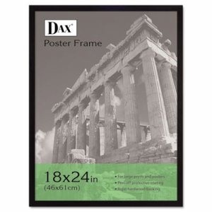 Flat Face Wood Poster Frame, Clear Plastic Window, 18 x 24, Black Border