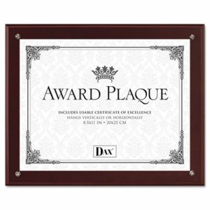 Plaque-In-An-Instant Kit w/Certs & Mats, Wood/Acrylic Up to 8 1/2 x 11, Mahogany