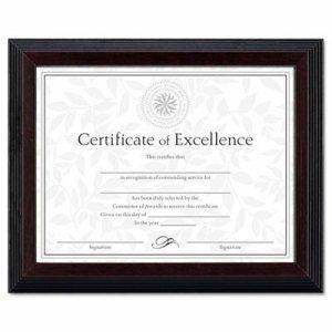 Stepped Award/Certificate Frame, 8 1/2 x 11, Black w/Walnut Trim