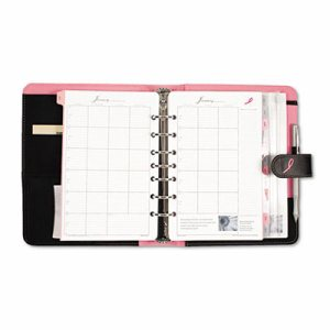 Pink Ribbon Loose-Leaf Organizer Set, 5 1/2 x 8 1/2, Black Microfiber Cover