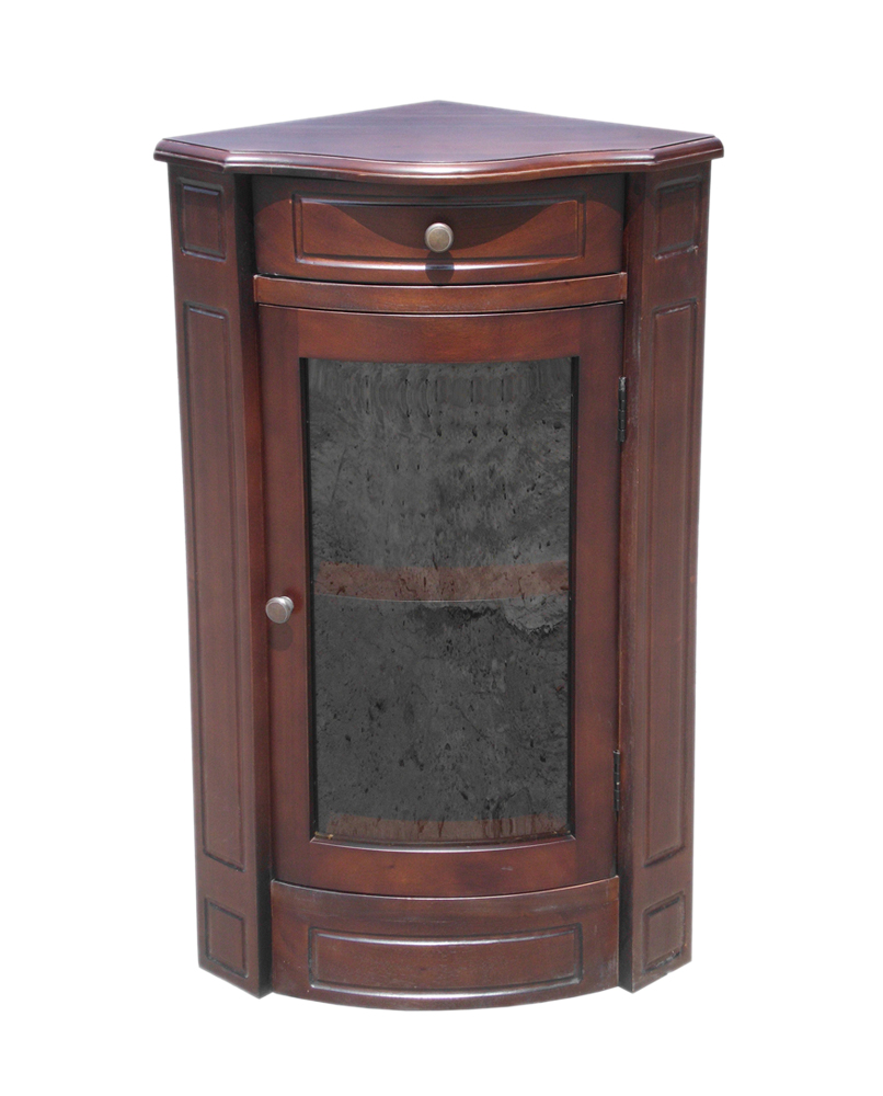 D-Art collection Mahogany Corner Glass Storage Cabinet Short