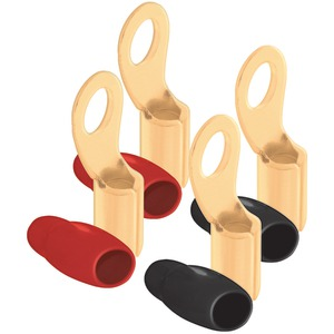 "DB LINK RT4 4-Gauge 5/16"" Ring Terminals, 4 pk (Gold Plated, 2 Red & 2 Black)"
